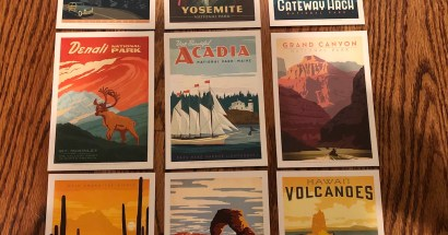 retro-style US national park postcards