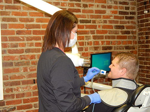Patient getting digital dental x-ray