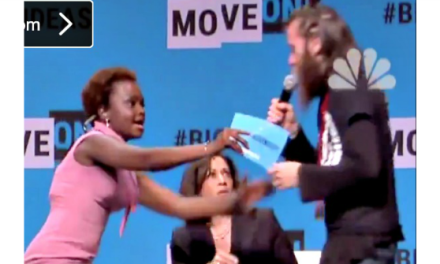 Watch: Protester Grabs Mic from Kamala Harris at MoveOn Forum