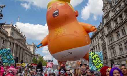 Woman stabs 'Baby Trump' blimp in the back during London protest, gets arrested