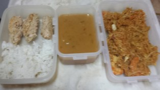 Sausage, soup (with crackers) and pad thai