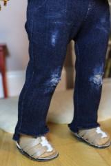 Distressed Fringe Hem Jeans- $24