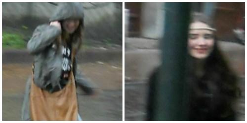Cracow girls street rain