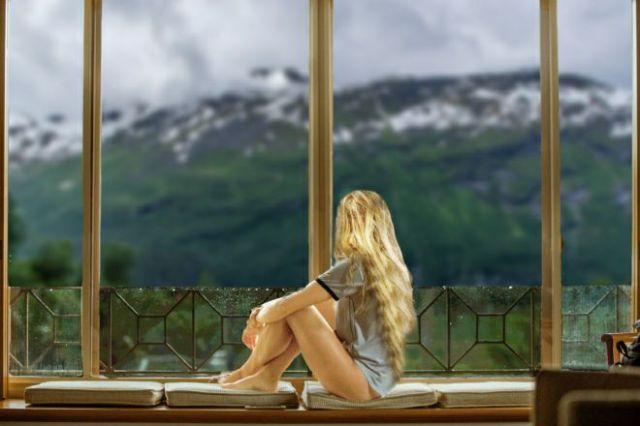 Norwegian girl in the mountains