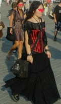 Gothic woman in the market