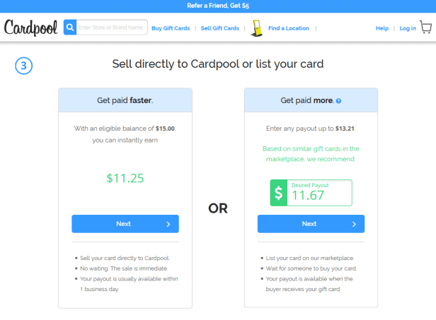 Cardpool sell gift cards