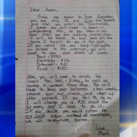 Mom writes letter demanding rent from entitled 13-year-old son