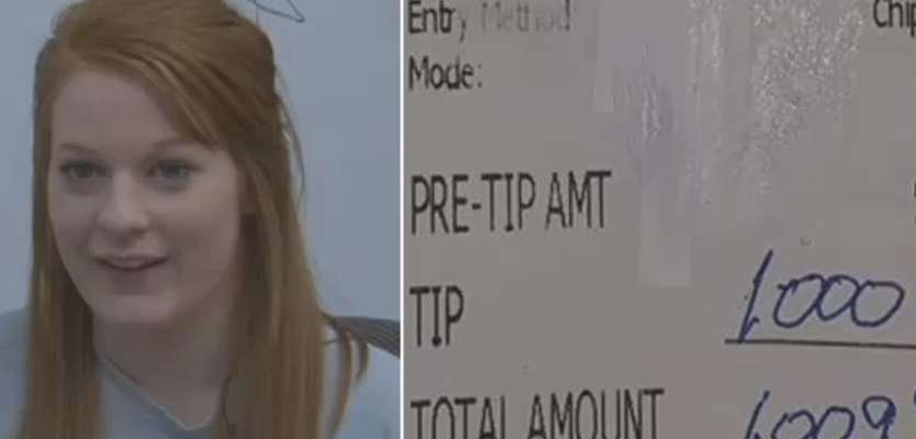 'This has to be a dream': Man leaves $1,000 tip for college-bound waitress