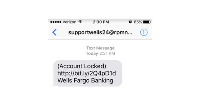 Banking scam text