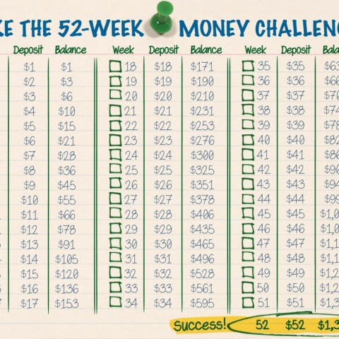 Try this 52-week challenge to save $1378 in 1 year!