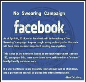 Facebook 'No Swearing Campaign'