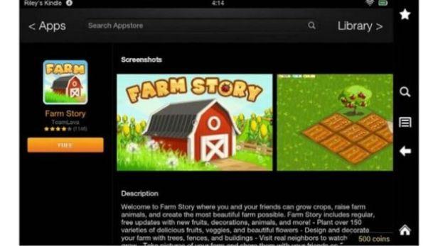 Farm Story app on a Kindle