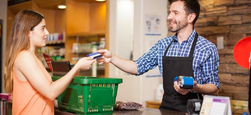 customer at supermarket checkout