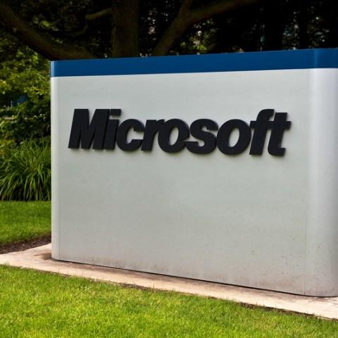 Microsoft logo outside corporate building