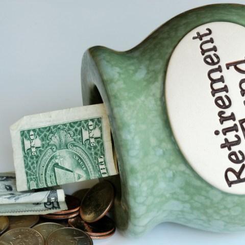 money in a retirement fund piggy bank