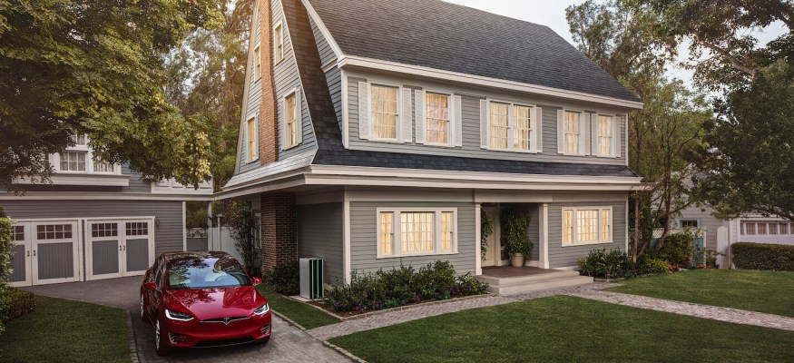 Tesla solar roof on home