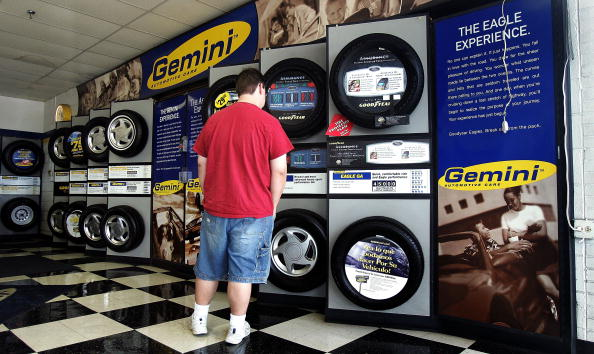 Man shopping for tires