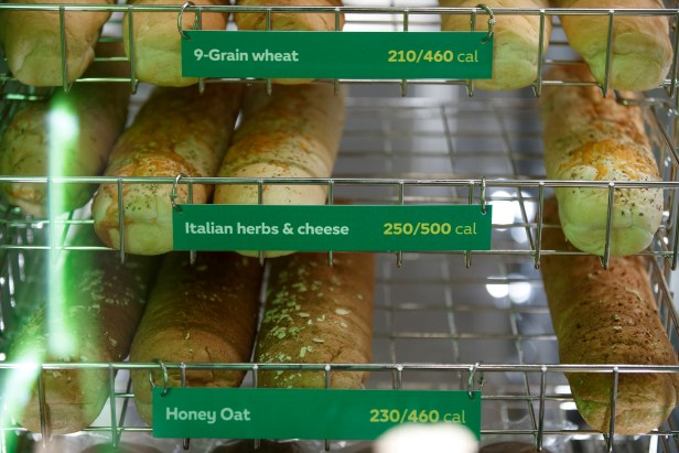 Subway bread display