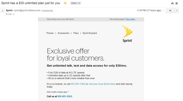 Sprint $30 unlimited data plan email