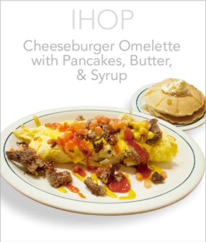 IHOP Cheeseburger Omelette with Pancakes, Butter and Syrup