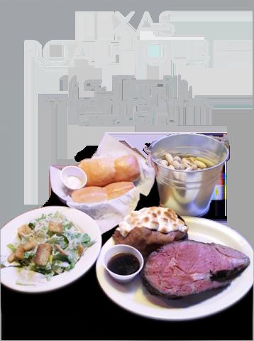 Texas Roadhouse 16 oz. Prime Rib, Loaded Sweet Potato and Caesar Salad