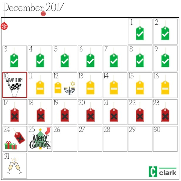 December 2017 shopping calendar
