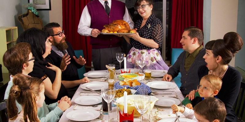 Large Thanksgiving dinner family gathering