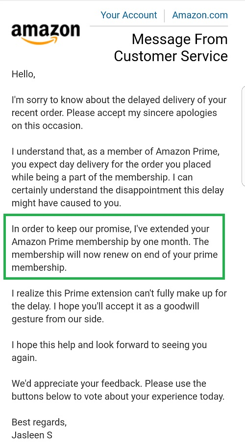 Amazon late payment