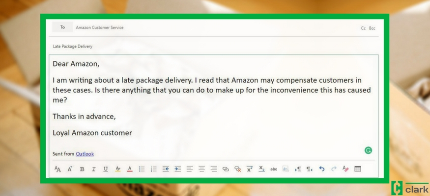 amazon delivery late again  use this sample email to