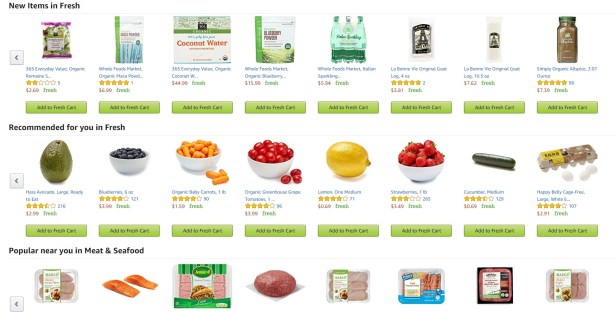 AmazonFresh grocery selection
