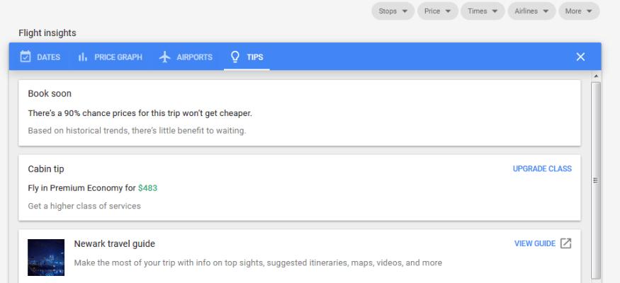 Google Flight price prediction tips