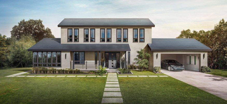 tesla solar shingles on a home