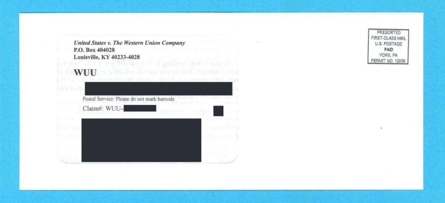 Western Union remission envelope