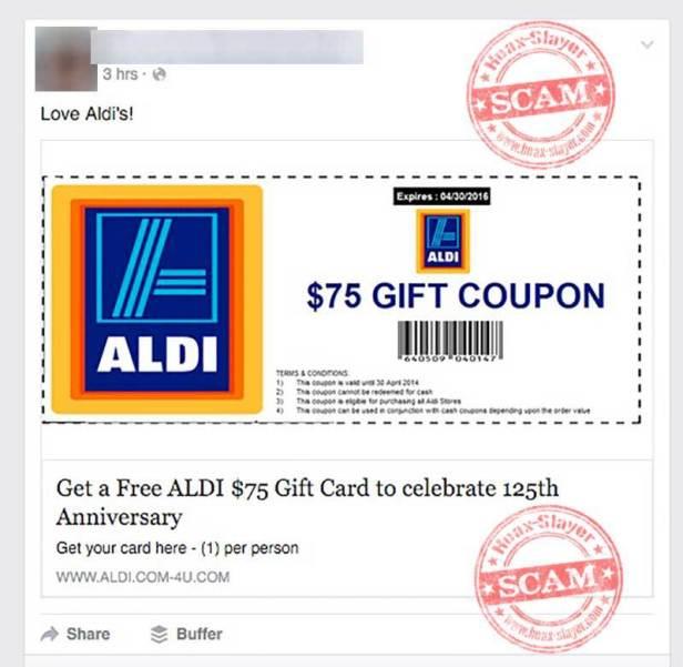 aldi scam coupon