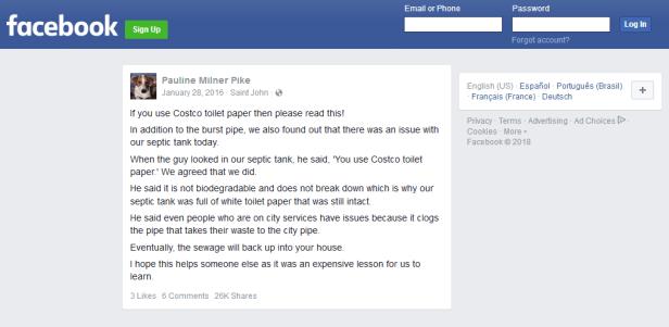 facebook costco toilet paper post