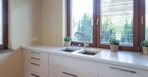 Remodeled kitchen with marble countertop