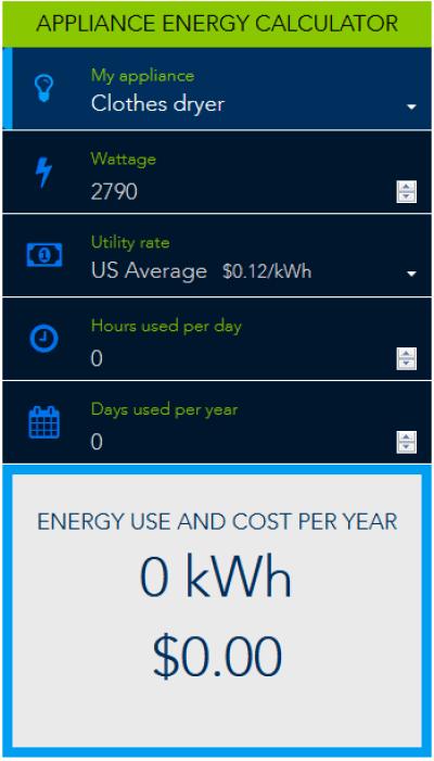 appliance energy calculator