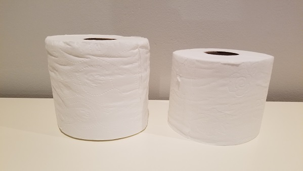 Costco toilet paper (left) and Boxed toilet paper (right)
