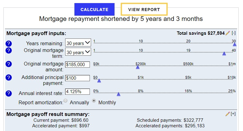 Bankrate chart shows how additional $100/month mortgage payment helps pay off a mortgage faster