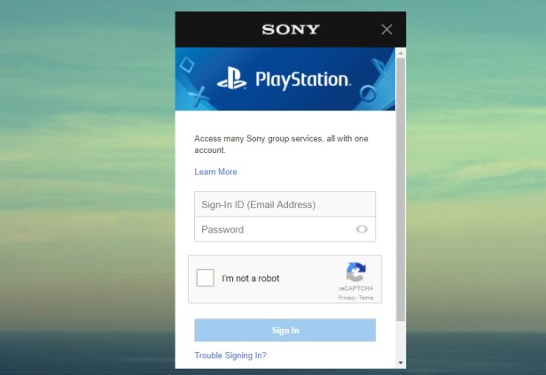 Sign in with your PlayStation Network account