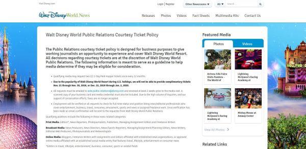 walt disney world public relations courtesy ticket
