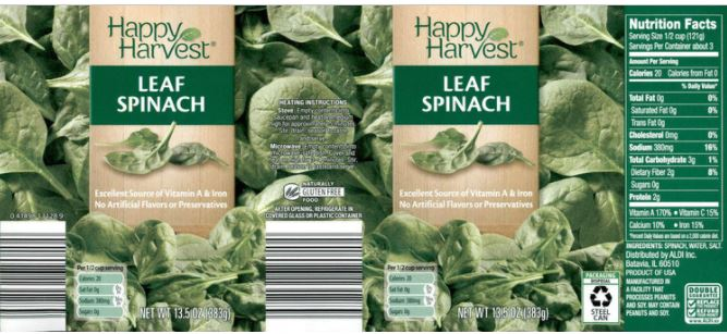 Happy Harvest Canned Spinach - voluntary recall of a limited number of cases as precautionary measure