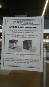 aldi deep fryer recall