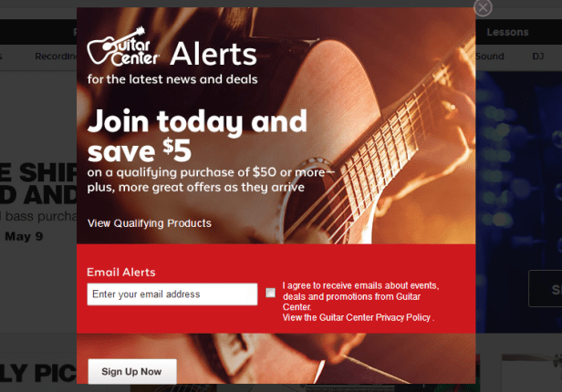 guitar center email sign-up discount