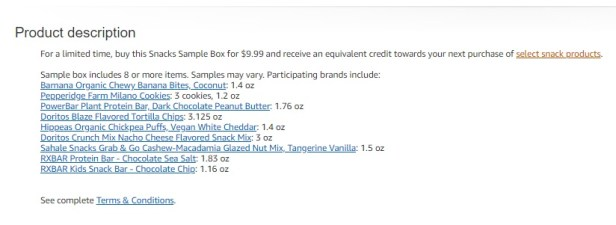 "Click on ""select snack products"" to see the list of items that you can get with your Amazon.com credit"