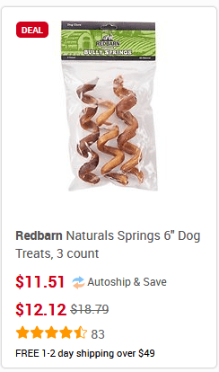 red barn naturals bully springs 3 count