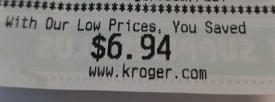 You Saved amount from Kroger receipt