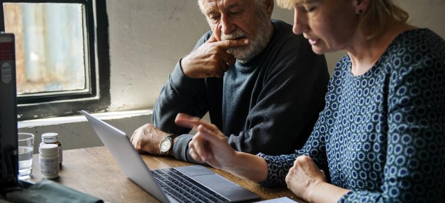 Older couple buying life insurance