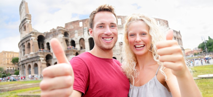 couple traveling overseas in Rome