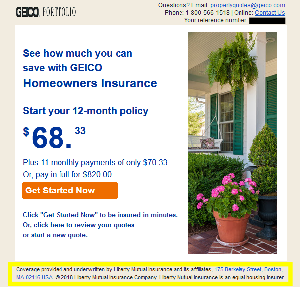 GEICO home insurance underwritten by Liberty Mutual